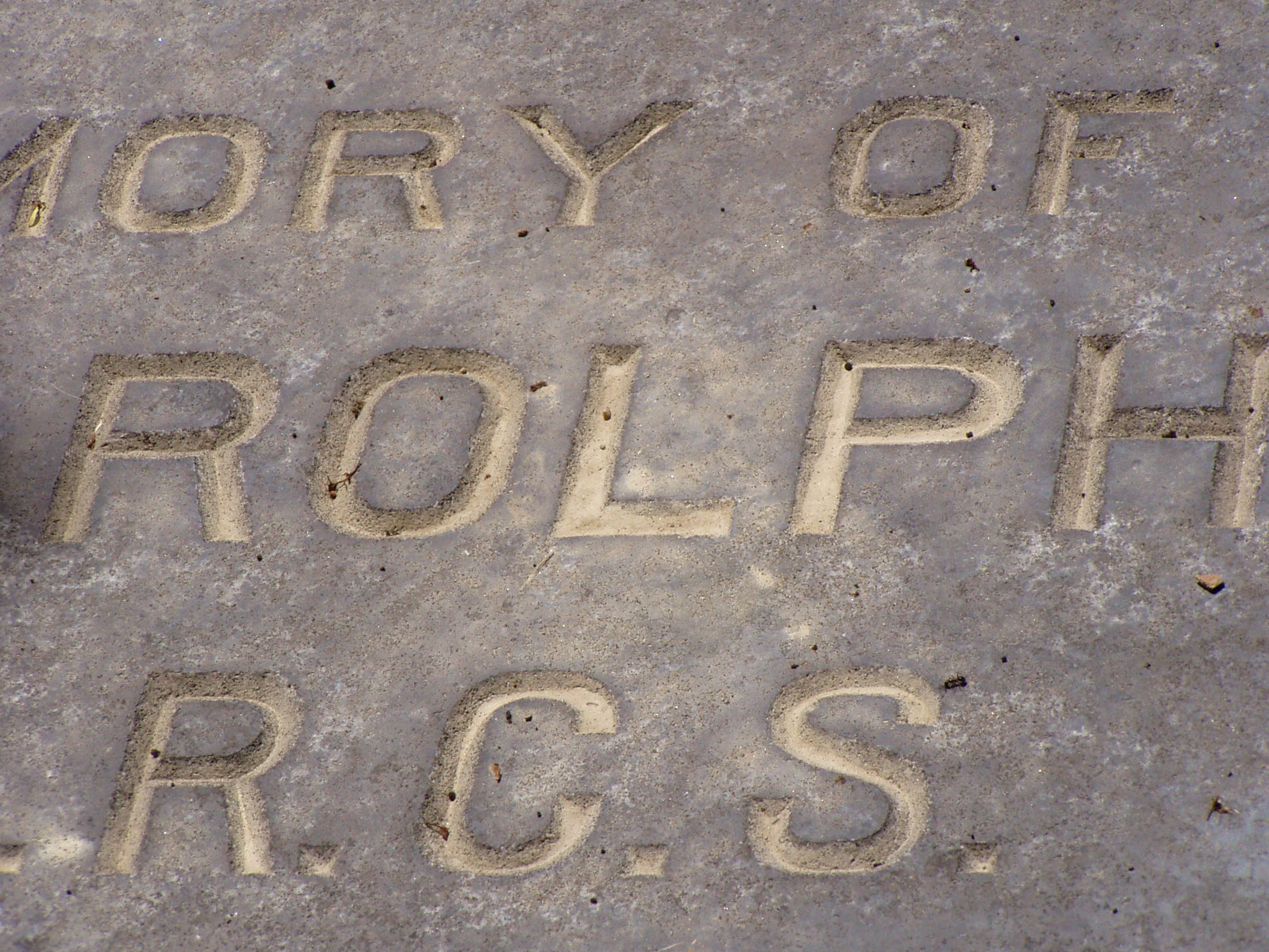 close up of inscription to Dr. John Rolph