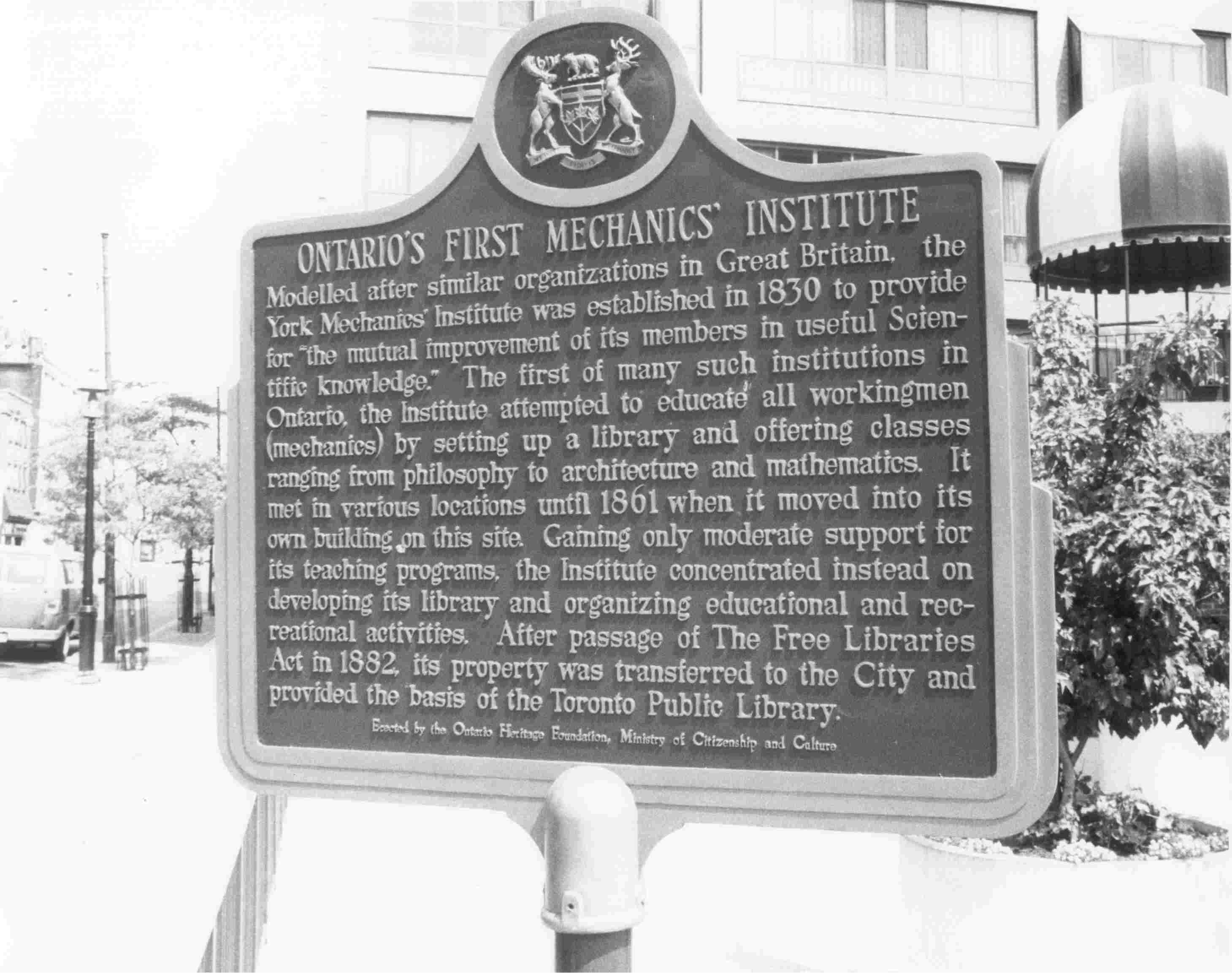 plaque to first mechanics institute