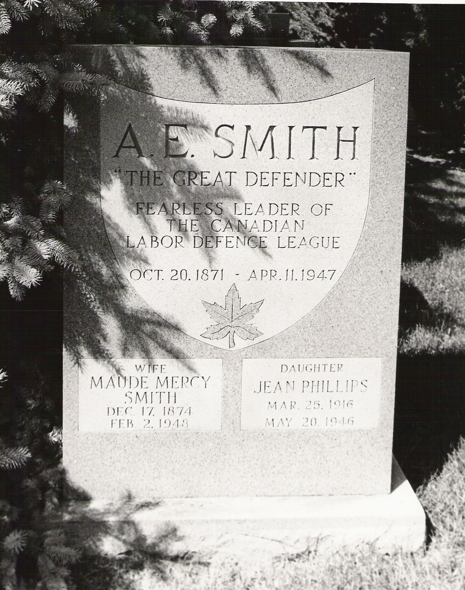inscription on Smith tombstone